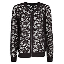 Buy Mango Zipped Lace Bomber Jacket, Black Online at johnlewis.com