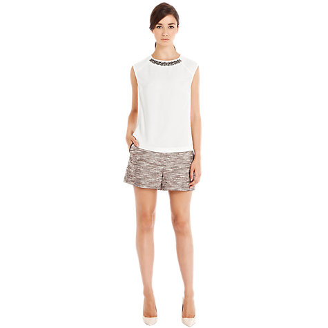 Buy Warehouse Embellished Jacqured T-Shirt, White Online at johnlewis.com