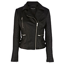 Buy Warehouse Leather Quilted Double Buckle Biker Jacket, Black Online at johnlewis.com