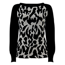 Buy Mint Velvet Animal Blocked Knit Jumper, Black Online at johnlewis.com