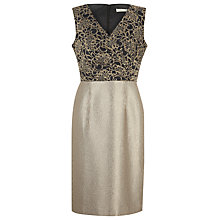 Buy Precis Petite Lace Crinkle Dress, Gold Online at johnlewis.com