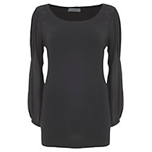 Buy Mint Velvet Chiffon Sleeve Cashmere Knit Top, Black Online at johnlewis.com