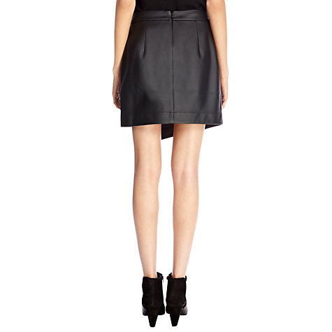 Buy Oasis Faux Leather Wrap Skirt, Black Online at johnlewis.com
