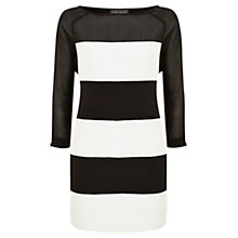 Buy Mint Velvet Striped Dress, Black / White Online at johnlewis.com