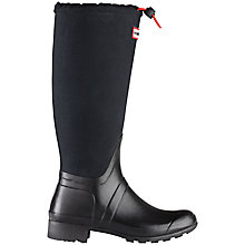 Buy Hunter Women's Original Tour Tall Canvas Mix Wellington Boots, Black Online at johnlewis.com