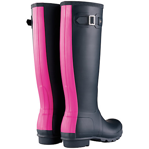 Buy Hunter Adjustable Original Wellington Knee High Boots, Navy/Pink Online at johnlewis.com