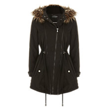 Buy Mint Velvet Faux Fur Hooded Parka, Khaki Online at johnlewis.com