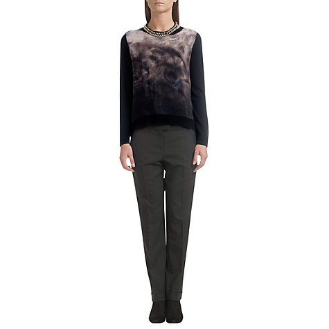 Buy Jigsaw Stretch Flannel Trousers, Dark Grey Online at johnlewis.com