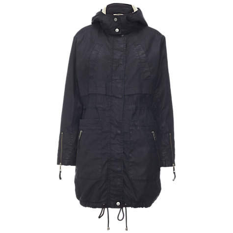 Buy Whistles Jourdon Waxed Parka, Navy Online at johnlewis.com