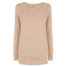 Buy Oasis Fluffy V-Neck Jumper, Mid Neutral Online at johnlewis.com