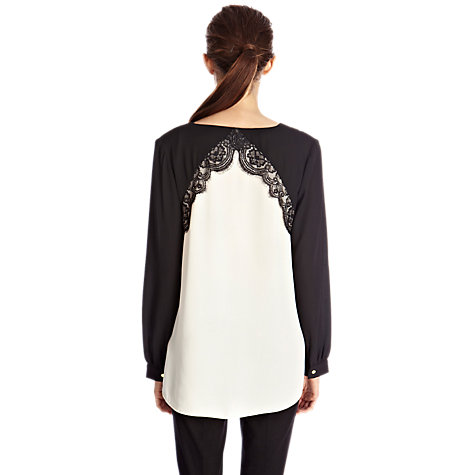 Buy Oasis Lace Trim Top, Black/White Online at johnlewis.com