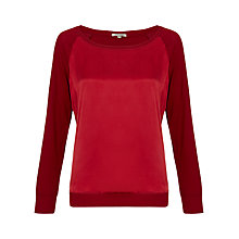 Buy Jigsaw Silk Front Raglan Sweater, Russet Online at johnlewis.com