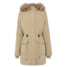 Buy Oasis Faux Fur Lined Parker, Mid Neutrals Online at johnlewis.com