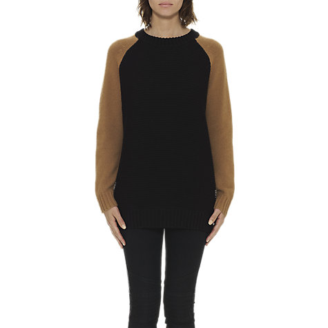Buy Whistles Ivy Colour Block Ribbed Knit Jumper, Black Online at johnlewis.com