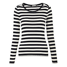 Buy Whistles Esme Pima Stripe T-Shirt, Black Multi Online at johnlewis.com