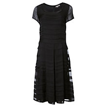 Buy Jigsaw Silk Pleat Dress, Black Online at johnlewis.com