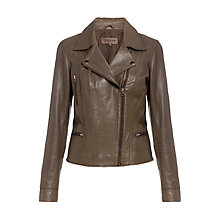 Buy Jigsaw Butter Leather Biker Jacket, Khaki Online at johnlewis.com