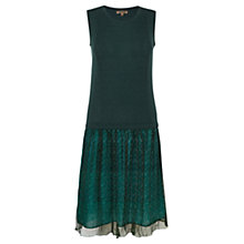 Buy Jigsaw Knit Top Chiffon Dress, Green Online at johnlewis.com