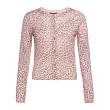 Buy Jigsaw Leopard Print Cardigan, Pink Online at johnlewis.com
