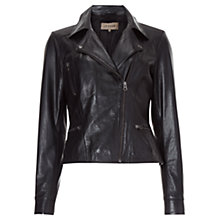 Buy Jigsaw Butter Leather Biker Jacket, Black Online at johnlewis.com