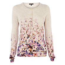 Buy Warehouse Border Floral Cardigan, Beige Online at johnlewis.com