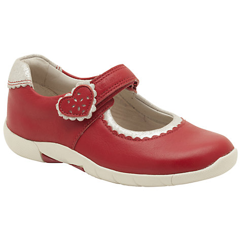 Buy Clarks Binnie Heart Pre-School Shoes, Red/Cream Online at johnlewis.com