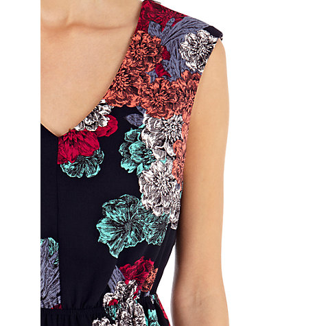 Buy Warehouse Stencil Floral Print Dress, Black/Multi Online at johnlewis.com