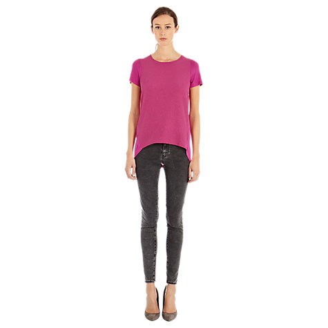 Buy Warehouse Woven Jacquard Tee, Bright Pink Online at johnlewis.com