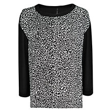 Buy Mango Oversized Leopard Print Top, Black Online at johnlewis.com