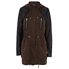Buy Warehouse Faux Leather Detail Jacket, Mink Online at johnlewis.com