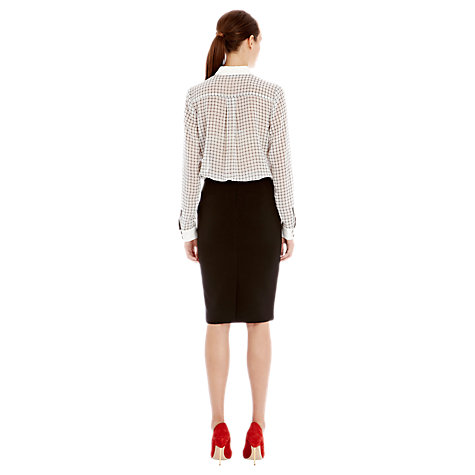 Buy Warehouse Long Line Pencil Skirt, Black Online at johnlewis.com