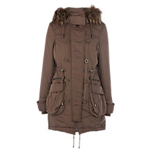 Buy Warehouse Faux Fur Hooded Parka Coat, Mink Online at johnlewis.com