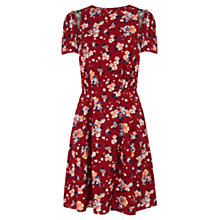 Buy Warehouse Floral Pattern Skater Dress, Red Online at johnlewis.com