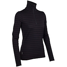 Buy Icebreaker Women's Tech Top Long Sleeve Half Zip Striped Top, Cognac Online at johnlewis.com