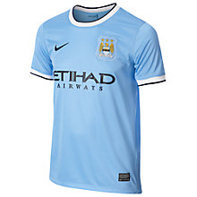 Buy Nike Manchester City Boy's Replica Short Sleeve Home Shirt 2013/2014, Blue Online at johnlewis.com