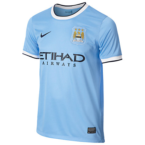 Buy Nike Junior Manchester City Replica Short Sleeve Home Shirt 2013/2014, Blue Online at johnlewis.com