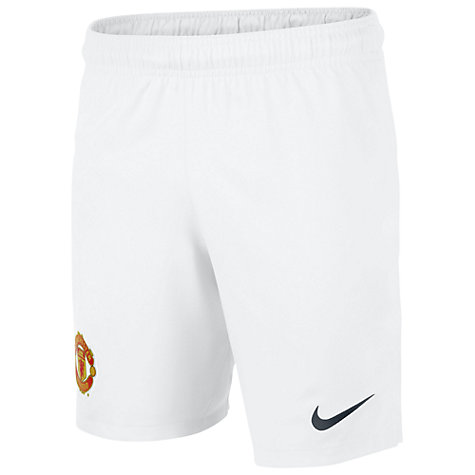 Buy Nike Junior Manchester United Replica Home Shorts 2013/2014, White Online at johnlewis.com