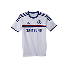Buy Adidas Chelsea Boys Replica Away Shirt 2013/2014, White/Blue Online at johnlewis.com