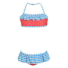 Buy John Lewis Girl Spot and Stripe Bikini, Red/Blue Online at johnlewis.com