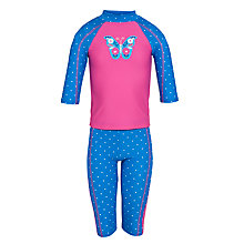 Buy John Lewis Girl Butterfly Sun Pro Suit, Pink Online at johnlewis.com