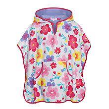 Buy John Lewis Girl Flower Towelling Poncho, Pink/Multi Online at johnlewis.com