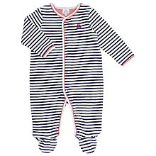 Buy John Lewis Baby Velour Sleepsuit, Blue/White Online at johnlewis.com