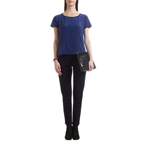 Buy Jigsaw Geo Stretch Trousers, Navy Online at johnlewis.com
