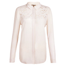 Buy Jigsaw Leaf Cut Work Shirt, Petal Pink Online at johnlewis.com