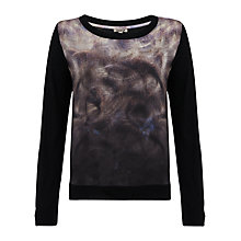 Buy Jisgaw Silk Front Jumper, Black Online at johnlewis.com