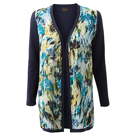 Buy East Brady Silk Front Cardigan, Navy Online at johnlewis.com