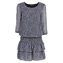 Buy Mango Ruffled Skirt Leopard Print Dress, Medium Blue Online at johnlewis.com