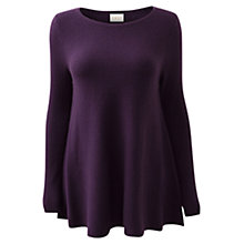 Buy East Ribbed Peplum Top, Black Plum Online at johnlewis.com