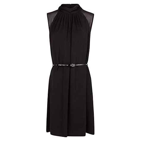 Buy Mango Funnel Neck Flowy Dress, Black Online at johnlewis.com