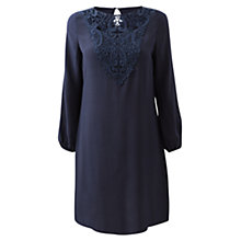 Buy East Lace Trim Dress, Navy Online at johnlewis.com